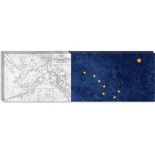 Alaska Flag, Vintage Map Grunge Panoramic Graphic Art on Canvas