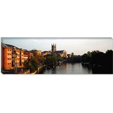 Panoramic 'Church along a River Worcester Cathedral, England Photographic Print on Canvas