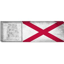 Alabama Flag, Vintage Map Grunge Panoramic Graphic Art on Canvas