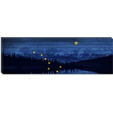 Alaska Flag, Mountain Range, Woods Boards Grunge Canvas Wall Art