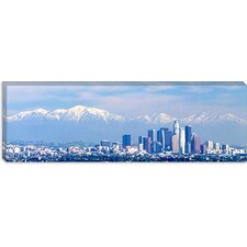Buildings in a City with Snowcapped Mountains in the Background, San Gabriel Mountains, City of Los Angeles, California Canvas Wall Art
