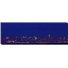 Buildings in a City Lit up at Night, New York City, New York State Canvas Wall Art