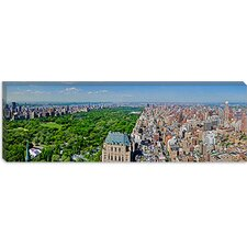 <strong>iCanvasArt</strong> Aerial View of a City, Central Park, Manhattan, New York City, New York State 2011 Canvas Wall Art
