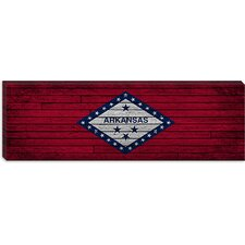 <strong>iCanvasArt</strong> Arkansas Flag, Panoramic Grunge Wood Boards Canvas Wall Art