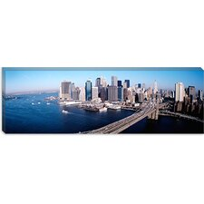 <strong>iCanvasArt</strong> Aerial View of Brooklyn Bridge in Lower Manhattan, New York Canvas Wall Art