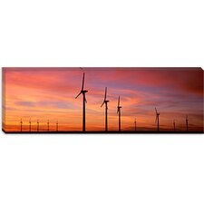 <strong>iCanvasArt</strong> Wind Turbine in The Barren Landscape, Brazos, Texas Canvas Wall Art