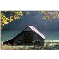 "<strong>iCanvasArt</strong> ""#54 P Cades Cove Barn"" Canvas Wall Art by J.D. McFarlan"
