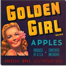<strong>iCanvasArt</strong> Golden Girl Apples Vintage Crate Label Poster