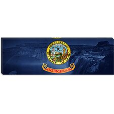<strong>iCanvasArt</strong> Idaho Flag, Shoshone Falls Panoramic Canvas Wall Art