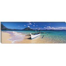 <strong>iCanvasArt</strong> Fishing Boat Moored on the Beach, Palawan, Philippines Canvas Wall Art