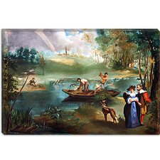 "<strong>iCanvasArt</strong> ""Fishing (La Peche)"" Canvas Wall Art by Edouard Manet"