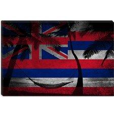 Hawaii Flag, Grunge Beach Palm Trees, Ocean Hammock Graphic Art on Canvas