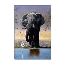 "<strong>iCanvasArt</strong> ""Elephant, Egret and Carmines"" Canvas Wall Art by Pip McFarry"
