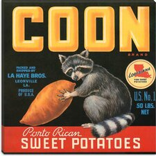 <strong>iCanvasArt</strong> Coon Sweet Potatoes Vintage Crate Label Canvas Wall Art