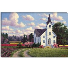 "<strong>iCanvasArt</strong> ""Conway Church 2"" Canvas Wall Art by Randy Van Beek"