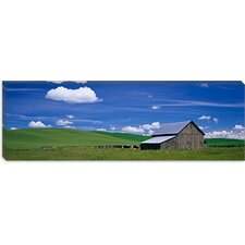 <strong>iCanvasArt</strong> Cows and a Barn in a Wheat Field, Washington State, Canvas Wall Art