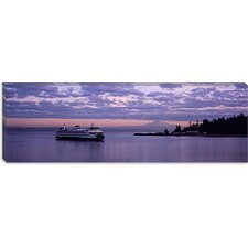 <strong>iCanvasArt</strong> Ferry in the Sea, Bainbridge Island, Seattle, Washington State Canvas Wall Art