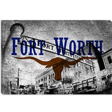 <strong>iCanvasArt</strong> Fort Worth, Texas Flag - Stock Yards Grunge Canvas Wall Art