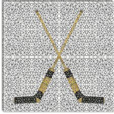 <strong>iCanvasArt</strong> Hockey Sticks Canvas Wall Art