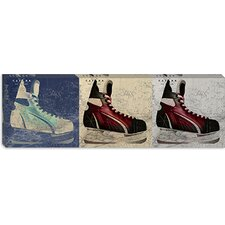 <strong>iCanvasArt</strong> Hockey Ice Skates Panoramic Canvas Wall Art