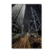 <strong>iCanvasArt</strong> Hong Kong Skyscrapers at Night Cityscape Photographic