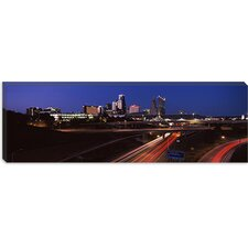 Highway Interchange and Skyline at Dusk, Kansas City, Missouri Canvas Wall Art