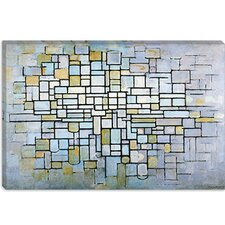 "<strong>iCanvasArt</strong> ""Composition in Blue, Gray, and Prink"" Canvas Wall Art by Piet Mondrian"