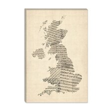 "<strong>iCanvasArt</strong> ""Great Britain Music Map II"" Canvas Wall Art by Michael Thompsett"