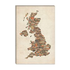 Great Britain UK City Text Map II Canvas Print Wall Art by Michael Thompsett