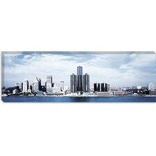 <strong>iCanvasArt</strong> Detroit Panoramic Skyline Cityscape Canvas Wall Art