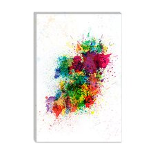 """Ireland Map Paint Splashes"" Canvas Wall Art by Michael Thompsett"