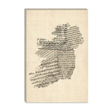 """Ireland Sheet Music Map"" Canvas Wall Art by Michael Thompsett"