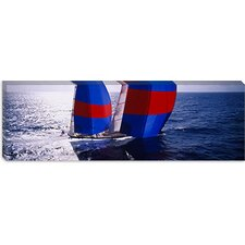 High Angle View of a Yacht in The Sea, Caribbean Canvas Wall Art