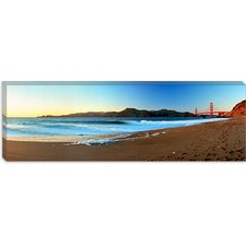 <strong>iCanvasArt</strong> Footprints on the Beach, Golden Gate Bridge, San Francisco, California Canvas Wall Art
