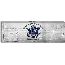 <strong>iCanvasArt</strong> Coast Guard Flag, Metal Rivets Panoramic Canvas Wall Art