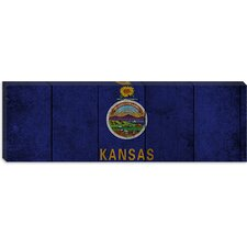 <strong>iCanvasArt</strong> Kansas Flag, Wood Planks Panoramic Canvas Wall Art