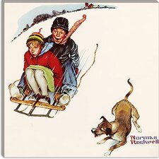"""Downhill Daring"" Canvas Wall Art by Norman Rockwell"