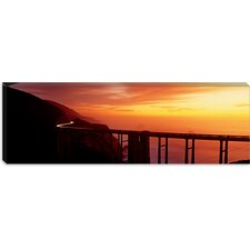 <strong>iCanvasArt</strong> Dusk Hwy 1 with Bixby Bridge Big Sur, California Canvas Wall Art