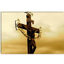 <strong>iCanvasArt</strong> Crucifix Statue Karlovy Most, Prague Photographic Canvas Wall Art
