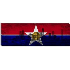 <strong>iCanvasArt</strong> Flag Dallas, Texas Flag - City Panoramic Canvas Wall Art