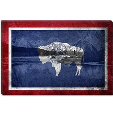 <strong>iCanvasArt</strong> Wyoming Flag, Grand Teton Nationl Park Canvas Wall Art