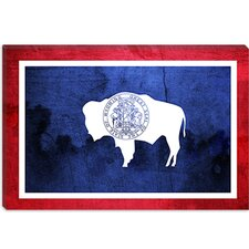 <strong>iCanvasArt</strong> Wyoming Flag, Paper Grunge Canvas Wall Art