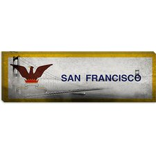 <strong>iCanvasArt</strong> San Francisco Flag, Golden Gate Bridge Panoramic Canvas Wall Art