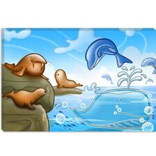 <strong>iCanvasArt</strong> Seals Dolphins and Whale Cartoon Children Play Room Canvas Wall Art