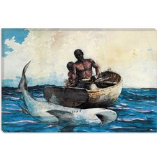 """Shark Fishing 1885"" Canvas Wall Art by Winslow Homer"