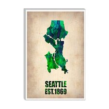 "<strong>iCanvasArt</strong> ""Seattle Watercolor Map"" Canvas Wall Art by Naxart"