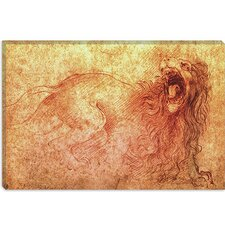 "<strong>iCanvasArt</strong> ""Sketch of a Roaring Lion"" Canvas Wall Art by Leonardo da Vinci"