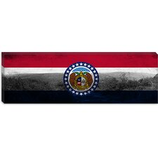 Missouri Flag, Bell Grunge Mountain Panoramic Canvas Wall Art