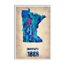 "<strong>iCanvasArt</strong> ""Minnesota Watercolor Map"" Canvas Wall Art by Naxart"