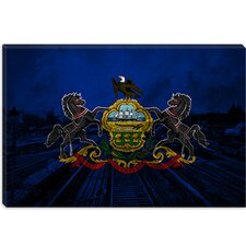 <strong>iCanvasArt</strong> Pennsylvania Flag, Grunge Scranton Train Yard Canvas Wall Art